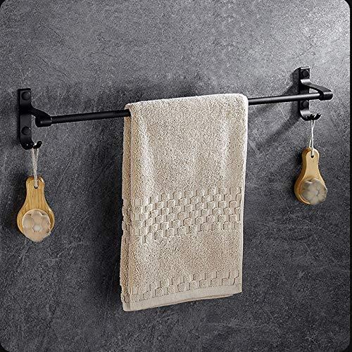 Wandmontage handdoekhouder van aluminium met ruimte voor douchecabine of keuken handdoekhouder 15,7 inch met haak oppervlak mat zwart (grootte: 50) 40
