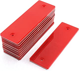 uxcell 10 Pcs Red Plastic Rectangular Stick-on Car Reflector Sticker