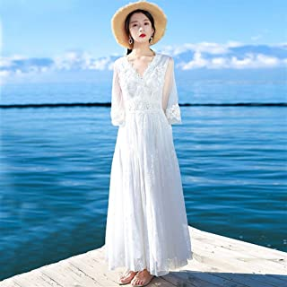Fashion Beach Dress Female Summer New White Lace Skirt Dress Literary Put On A Large Seaside Resort Halter Dress (Size : L)