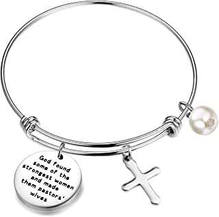 HOLLP Pastors Wife Gift Religious Jewelry Pastor Appreciation Gifts God Found Some of The Strongest Women and Made Them Pastors' Wives Bracelet with Cross Charm