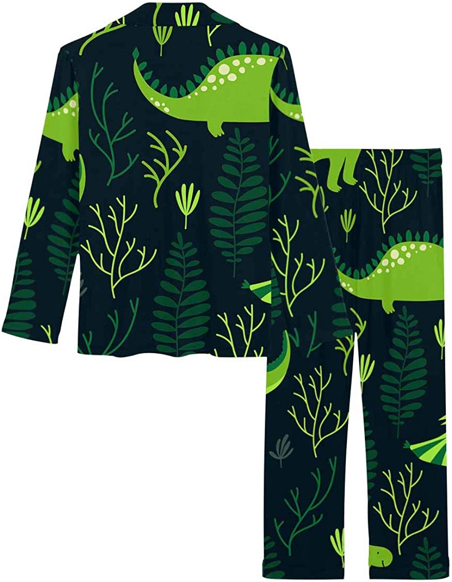 InterestPrint Long Sleeve Button Down Nightwear with Long Pants Different Dinosaurs