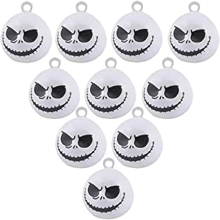 IDOXE 10Pcs Jack Skellington Halloween Bells Nightmare Before Christmas Pumpkin Copper Bell 19 Mm Jewelry Findings Making Charms (White Monster Halloween)