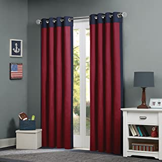 MIZONE MZ40-319 Mi-Zone Red Living, Casual Grommet Room Darkening Bedroom, Liam Solid Window Curtains, 50X84, 1-Panel Pack