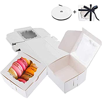 Thalia 60 Pack White Bakery Boxes with Window Pastry Box Donut Boxes for Small Pastries, Cookies,Cupcakes(4x4x2.5 inches)