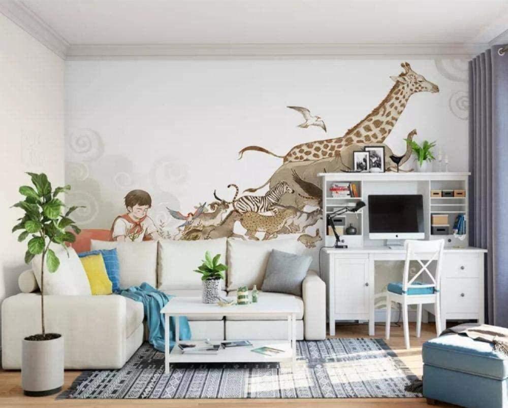 Amazon Ansyny 壁紙壁紙かわいい漫画シンプル野生動物キッズルーム背景壁画 300x210cm 壁紙