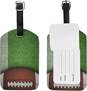 AGONA Luggage Tags American Football Grassland PU Leather Travel Bag Tag Suitcases ID Identifier Labels Baggage Label