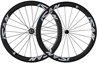 ICAN 50mm Carbon Road Bike Wheels 700C Clincher Sapim CX-Ray Spokes Rim Brake Only 1460g (Upgraded Version Wheelset)
