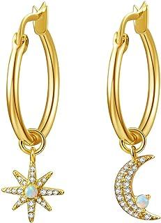 CHOA Star-Moon Asymmetric Opal Earrings-Bohemian Style Opal Earrings With Diamond