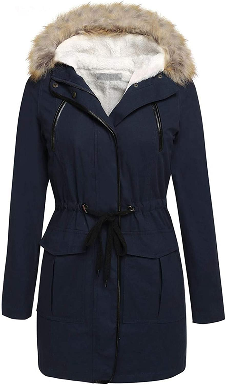 Aancy New Women Coat Dark bluee Spring Hoodied Overcoat Zipper Lace Up Fashion Overwear Thick Casual Street Female Coats Winter bluee XL