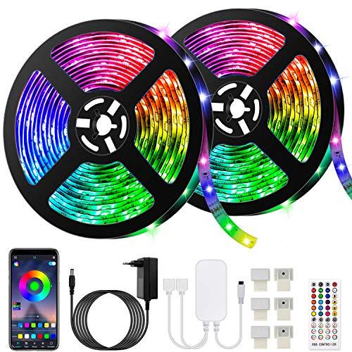 Ruban LED Bleutooth,10M Bande LED 300 LEDs 5050 RGB Étanche,Contrôlé par APP du Smartphone, Synchroniser avec Rythme de Musique/Fonction de Minuterie