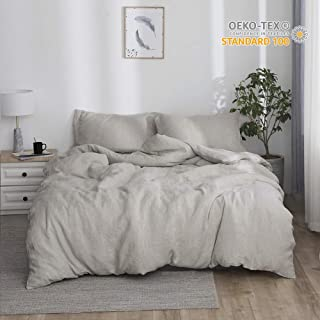 Simple&Opulence 100% Linen Stone Washed 3pcs Basic Style Solid Duvet Cover Set (Twin, Linen)