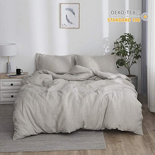 779b4cad95 Simple&Opulence 100% Linen Stone Washed 3pcs Basic Style Solid Duvet Cover  Set (King,