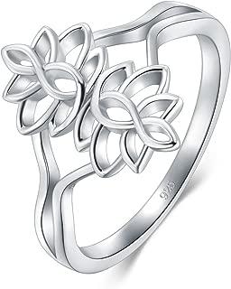 925 Sterling Silver Ring, Lotus Flower Yoga High Polish Tarnish Resistant Comfort Fit Wedding Band Ring