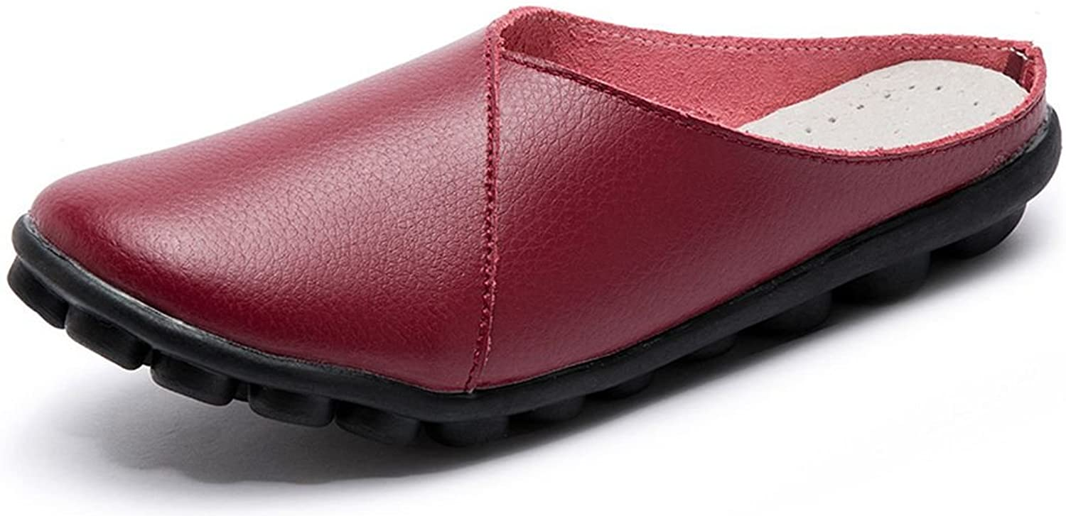Labato Women's Mules Slip-on shoes Leather Clogs Flats Wallking Slipper Wine Red