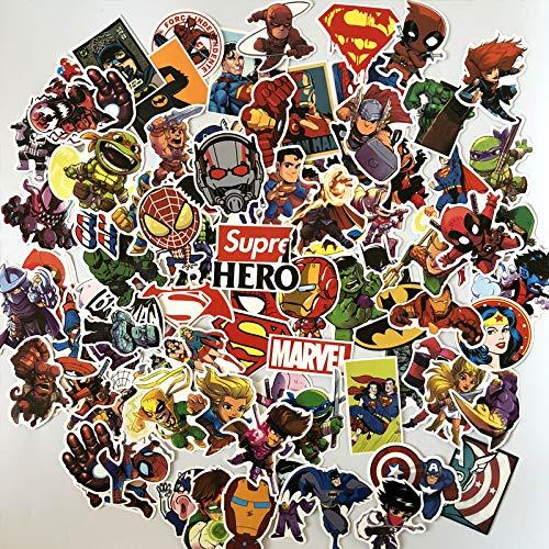BAIMENG Superhéroe Vengadores Pegatina Maleta Casco de computadora Pegatina de Dibujos Animados 100 Piezas