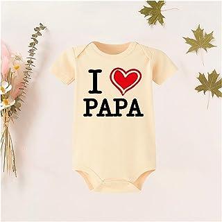 I Love Papa/My Mama حروف مطبعة القليل رومبير طفل الفتيات أولاد بذلة ملابس ملابس صيف (Color : RW92-A003YE-, Kid Size : 3M)