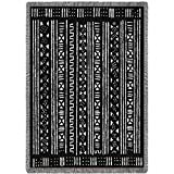 Reversible Mud Cloth - African Style - Cotton Woven Blanket Throw - Made in The USA (70x50)