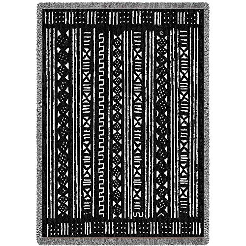 Pure Country Weavers Reversible Mud Cloth African Throw Blanket Woven from Cotton - Made in The USA (69x48)