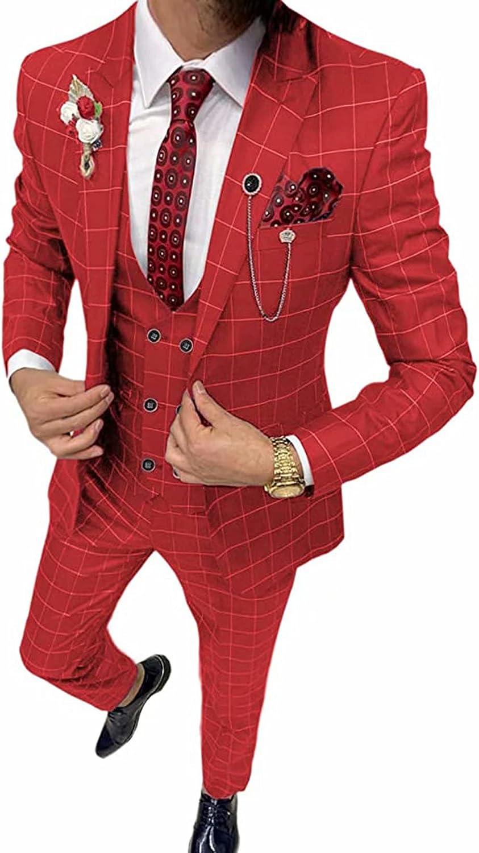 Men's 3 Pieces Slim Fit Prom Tuxedos Wedding Grooms Suit(Blazer+Vest+Pants)