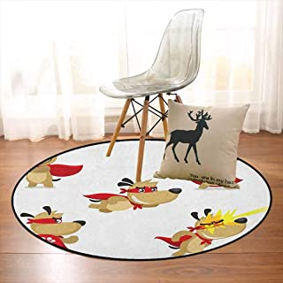 Dog Non-Slip Absorbent Carpet Superhero Puppy with Paw Costume and Mystic Powers Laser Vision Supreme Talents Better underfoot Protection D35.4 Inch Red Cream White