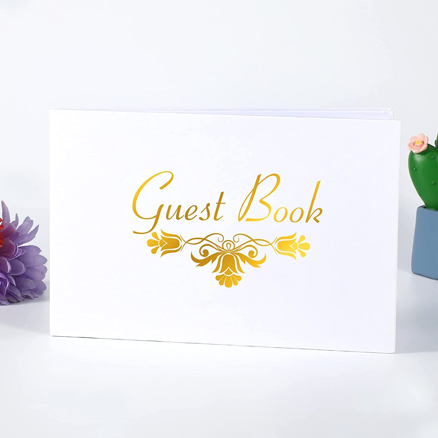 Outus Wedding Guest Book White Detroit Mall Hardbound 6 Gues x inch Limited time cheap sale Book9