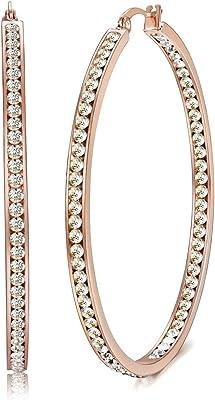 Jstyle Gioielli in Acciaio Inossidabile Oro Rosa Orecchini Grandi a Cerchio con Zirconia Cubica Intarsiata da Donna Diametro 50MM