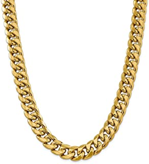 Diamond2Deal Women's 14k Yellow Gold 15mm Semi Solid Cuban Chain Necklace 26inch