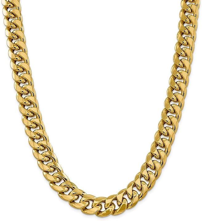 Diamond2deal - collana in oro giallo 14 kt, 15 mm, semi solida, catena cubana da 66 cm, per uomo e donna BC165-26