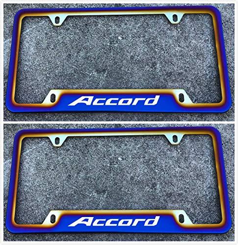 Estodian Blue Burnt Rainbow Chameleon Colorful Car License Plate Tag Holder Frame for Honda Accord 304 Stainless Steel (2)