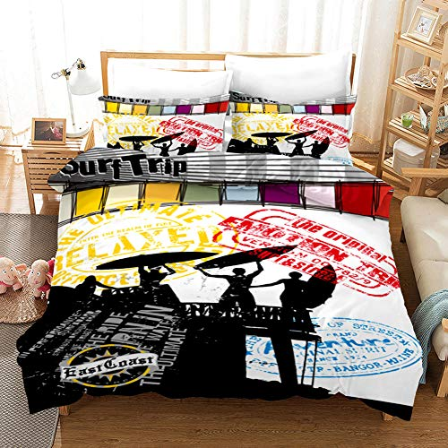 Duvet Cover Single Bed 135 x 200 cm Bedding set in Microfiber with 2 Pillowcases 50 x 75 cm surf Ultra Soft Hypoallergenic Duvet Cover set with Zipper