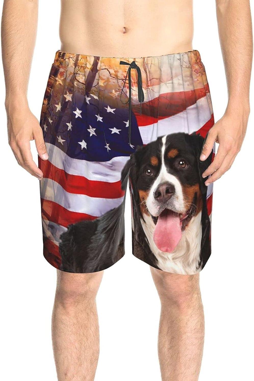 JINJUELS Men's Swim Trunks Dog American Flag Swim Short Boardshort Drawstring Athletic Beach Short