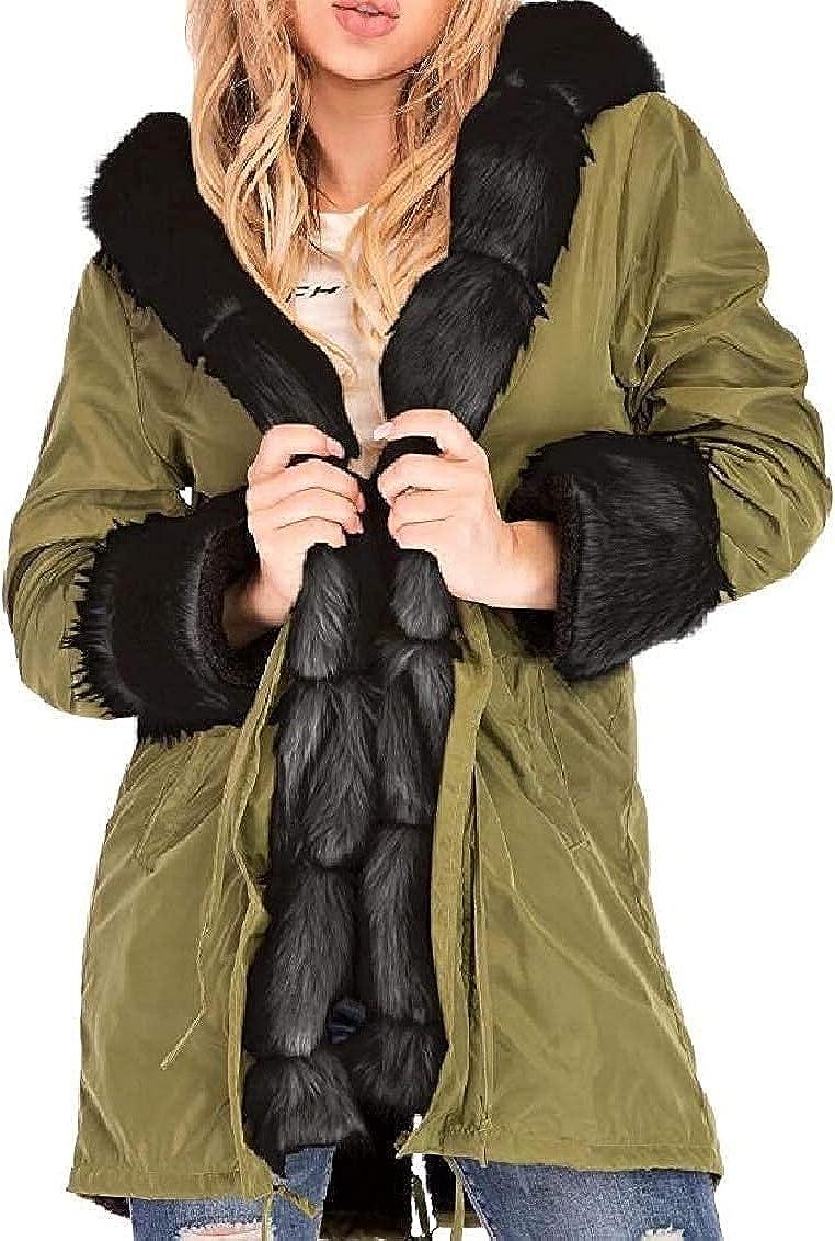 Women Hooded Outwear Fashion Warm Baggy Faux Fur Collar Jacket Overcoat