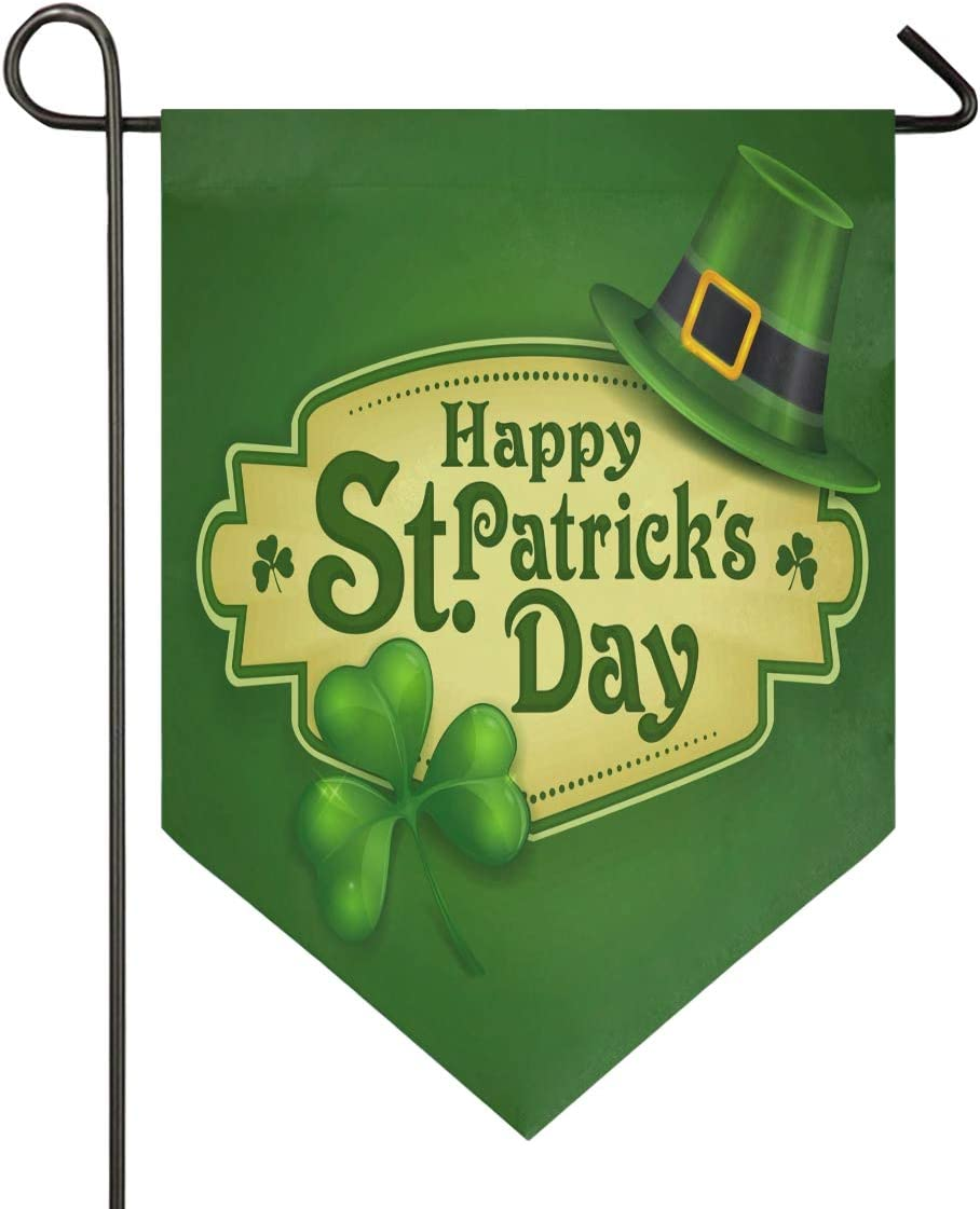 Oarencol St Patrick's Day Shamrock Hat Clover Garden Flag Double Sided Home Yard Decor Banner Outdoor 12.5 x 18 Inch
