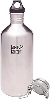 Klean Kanteen Classic Bottle Bundle with 2 Caps (Loop Cap and Swing Lok Cap) - Brushed Stainless, 64 Ounce …