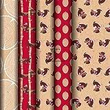 Clairefontaine 223831AMZC – Caja de 20 rollos de papel de regalo Kraft marrón 100% reciclado, 5 mx0m35 (especial pequeño ancho), 70 g, motivos surtidos