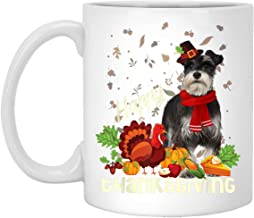Happy Thanksgiving Pilgrim Miniature Schnauzer Lover Gift 11 oz. White Mug