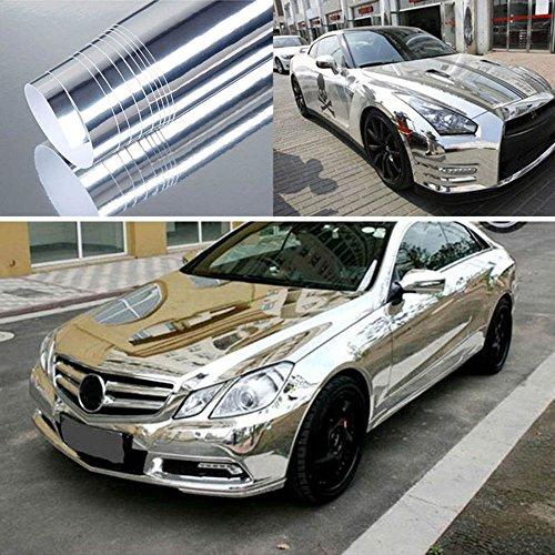 Hoho - Film teinté pour voiture - Vinyle adhésif métallisé - Couleur argent chromé brillant - Évacuation de l'air - 152 x 100 cm