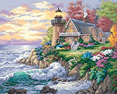 Paint by numbers kit contains high-quality acrylic paints, (1) pre-printed textured art board, (1) set of instructions, and (1) paintbrush. Finished painting measures 16'' W x 20'' L. Recreate a seaside landscape complete with a house, lighthouse, wa...