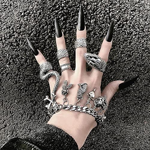TaiWang Anillos de Serpientes, 4 Anillos Suelo Femenino Fresco Metal Pesado Dark Gothic Street Hip-Hop Python Punk Ring múltiple,Serpentine
