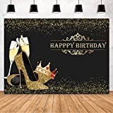 Mehofond Happy Birthday Party Decoration Backdrops for Lady Queen Gold High Heels Champagne Photography Background Banner Photo Props Studio Supplies 7x5ft
