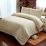 Brandream King Size Quilt Set Beige Palm Embroidery Quilted Comforter Set 100% Cotton Lightweight Oversized Quilt Blanket Set 3 Piece