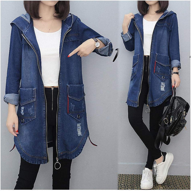 Womens Denim Jacket Long Hooded Jackets Casual Slim Jeans Long Sleeve Coat