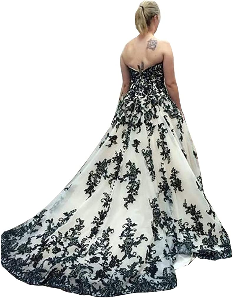 Melisa Sweetheart Lace Applique Beach Wedding Dresses for Women Bride with Train Bridal Ball Gown Plus Size