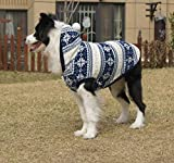 Dog Fleece Coat Cold Weather Dog Vest Snowflakes pile Hoodie for Large Dogs Pet Costume With Elk Printing Good Keep Warm Jackets and Gifts for Labrador Golden retriever Border (24 (Back 22.6'), Blue)