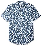 Amazon Essentials Men's Slim-Fit Short-Sleeve Print Linen Shirt, Navy Leaf, X-Large