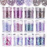 Polvere glitterata per nail art, 12 pezzi, decorazione per unghie 3D mista, olografica, cromata