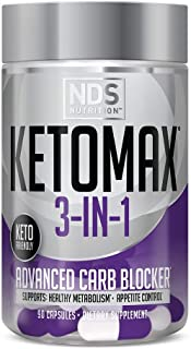 NDS Nutrition Keto-Max Advanced 3-in-1 - Keto Pills for Women Fat Loss Support Carb Blocker Appetite Suppressant - White K...