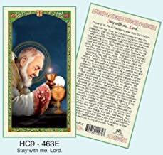 Saint Pio of Pietrelcina Stay With Me Prayer. Laminated 2-Sided Holy Card (3 Cards per Order)