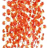 HUAYQ Paquete de 12 Escalada con Hojas de Hiedra Artificial, guirnaldas de Hiedra Falsa, Paredes de Escalada para decoración, Fiestas, Bodas, Hoja de Arce de 25,6 m
