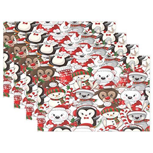 Lindos Tapetes De Mesa De Mono De Oso De Navidad para Cocina Comedor Navidad Invierno Año Nuevo Tapetes De Vacaciones Lavables 12X18 Pulgadas Tapetes De Cocina Resistentes Al Calor
